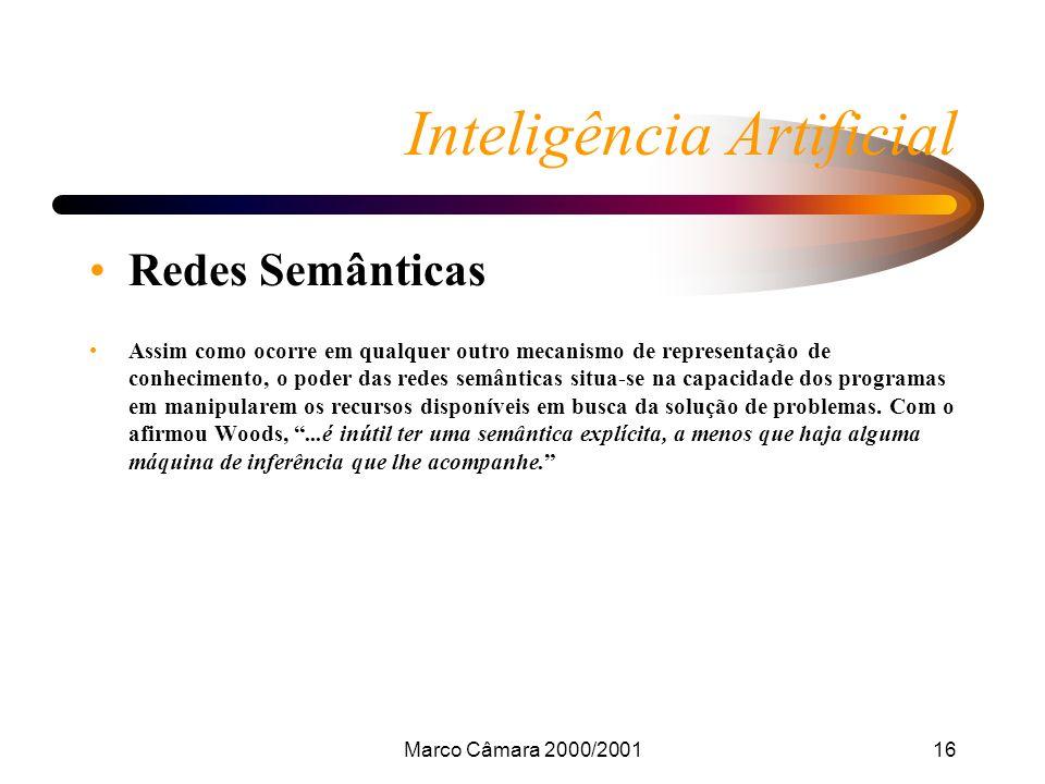 Marco Câmara 2000/200116 Inteligência Artificial Redes Semânticas Assim como ocorre em qualquer outro mecanismo de representação de conhecimento, o poder das redes semânticas situa-se na capacidade dos programas em manipularem os recursos disponíveis em busca da solução de problemas.