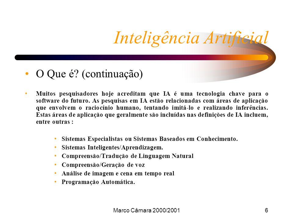 Marco Câmara 2000/200117 Inteligência Artificial Conclusão Embora ainda exista um enorme caminho a percorrer no desenvolvimento da inteligência artificial, demonstra-se que já muito foi feito, servindo de base de desenvolvimento de novos conceitos e de novas teorias neste campo.