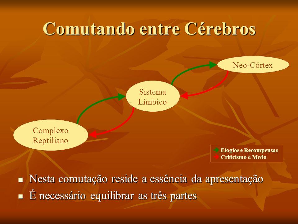 Comutando entre Cérebros Nesta comutação reside a essência da apresentação Nesta comutação reside a essência da apresentação É necessário equilibrar a