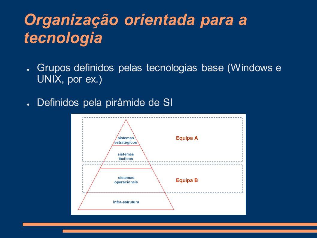 Organização orientada para a tecnologia Grupos definidos pelas tecnologias base (Windows e UNIX, por ex.) Definidos pela pirâmide de SI