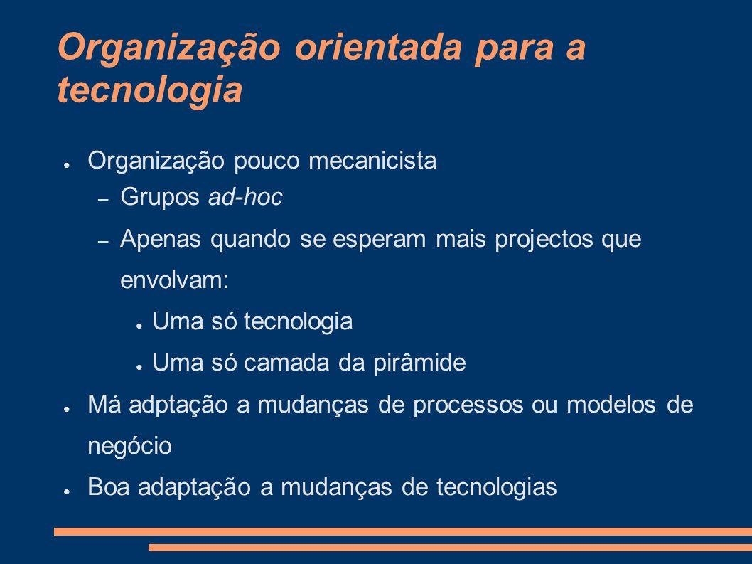 Organização orientada para a tecnologia Organização pouco mecanicista – Grupos ad-hoc – Apenas quando se esperam mais projectos que envolvam: Uma só t