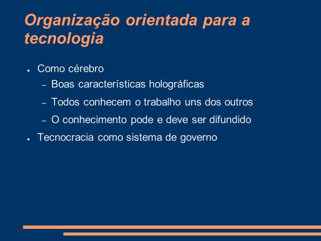 Organização orientada para a tecnologia Como cérebro – Boas características holográficas – Todos conhecem o trabalho uns dos outros – O conhecimento p
