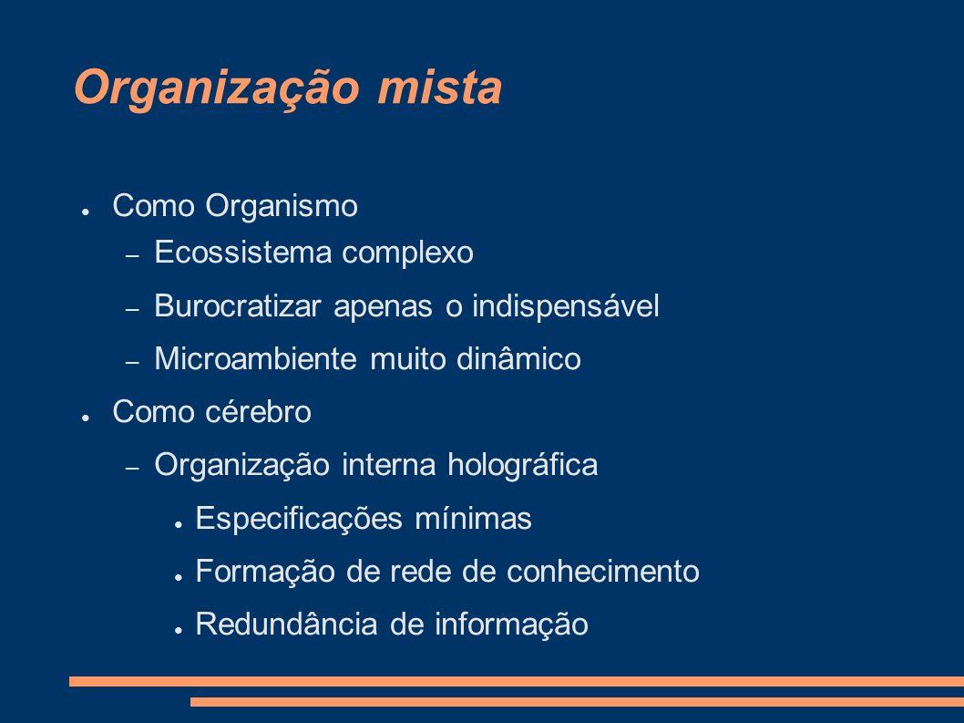Organização mista Como Organismo – Ecossistema complexo – Burocratizar apenas o indispensável – Microambiente muito dinâmico Como cérebro – Organizaçã