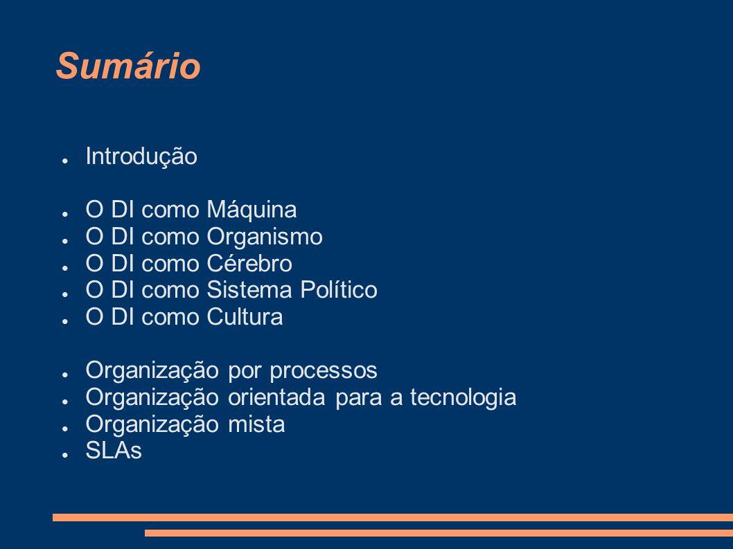O DI como Máquina Controlo burocrático Hierarquia bem definida Objectivos e produtos bem definidos Processos bem planeados Optimização de procedimentos Adaptam-se bem a ambientes estáveis A parte humana deve corresponder
