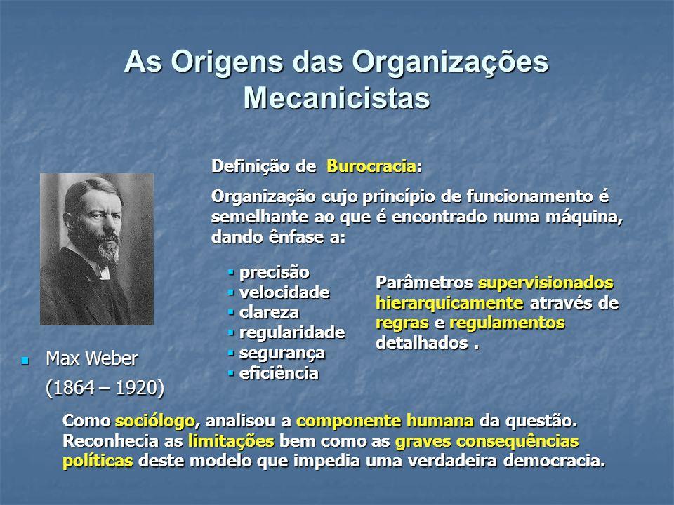 Max Weber (1864 – 1920) Max Weber (1864 – 1920) Definição de Burocracia: Organização cujo princípio de funcionamento é semelhante ao que é encontrado