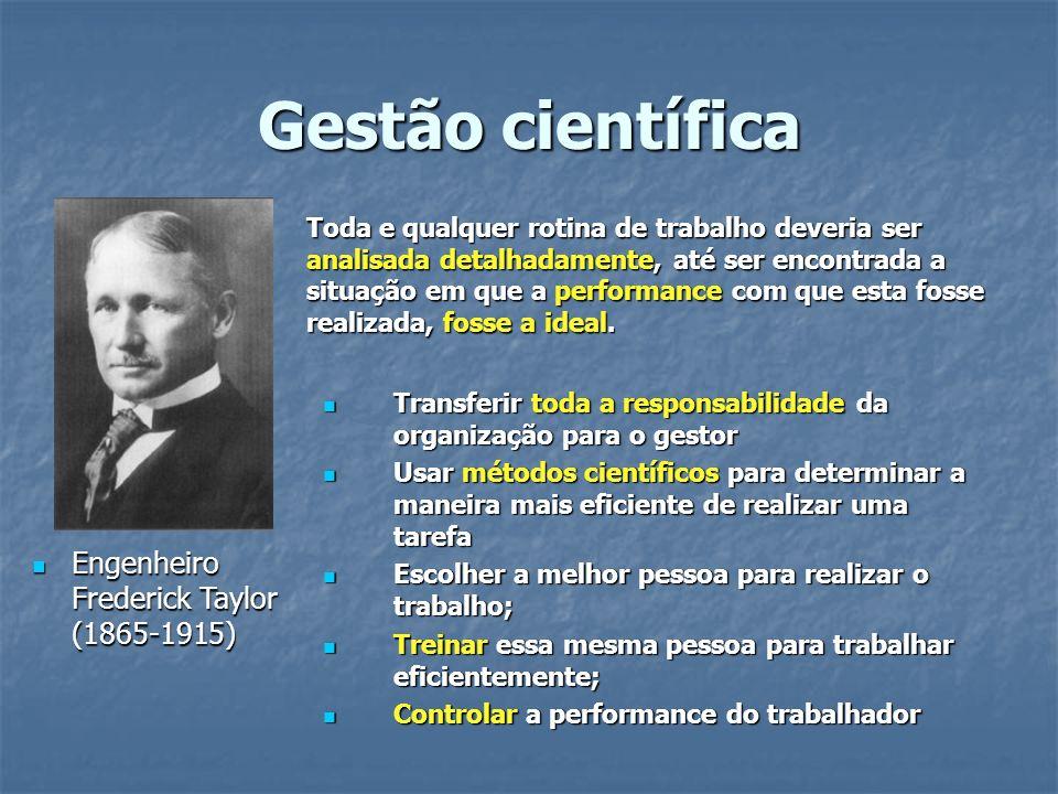 Gestão científica Engenheiro Frederick Taylor (1865-1915) Engenheiro Frederick Taylor (1865-1915) Toda e qualquer rotina de trabalho deveria ser anali