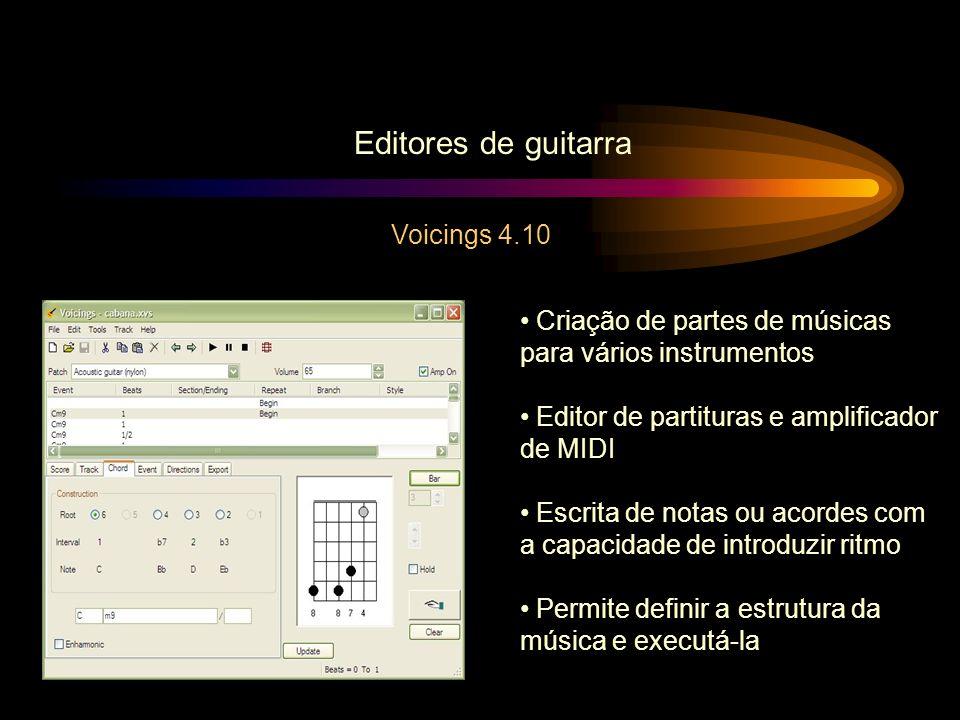 Editores de guitarra Voicings 4.10 Criação de partes de músicas para vários instrumentos Editor de partituras e amplificador de MIDI Escrita de notas