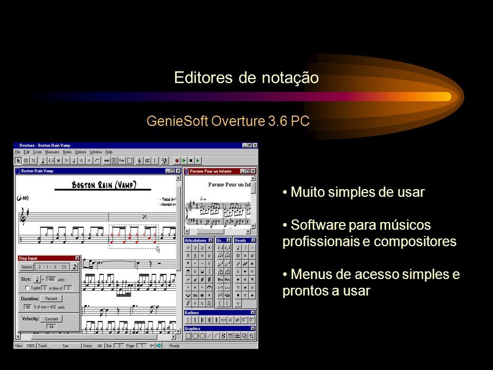 GenieSoft Overture 3.6 PC Editores de notação Muito simples de usar Software para músicos profissionais e compositores Menus de acesso simples e pront