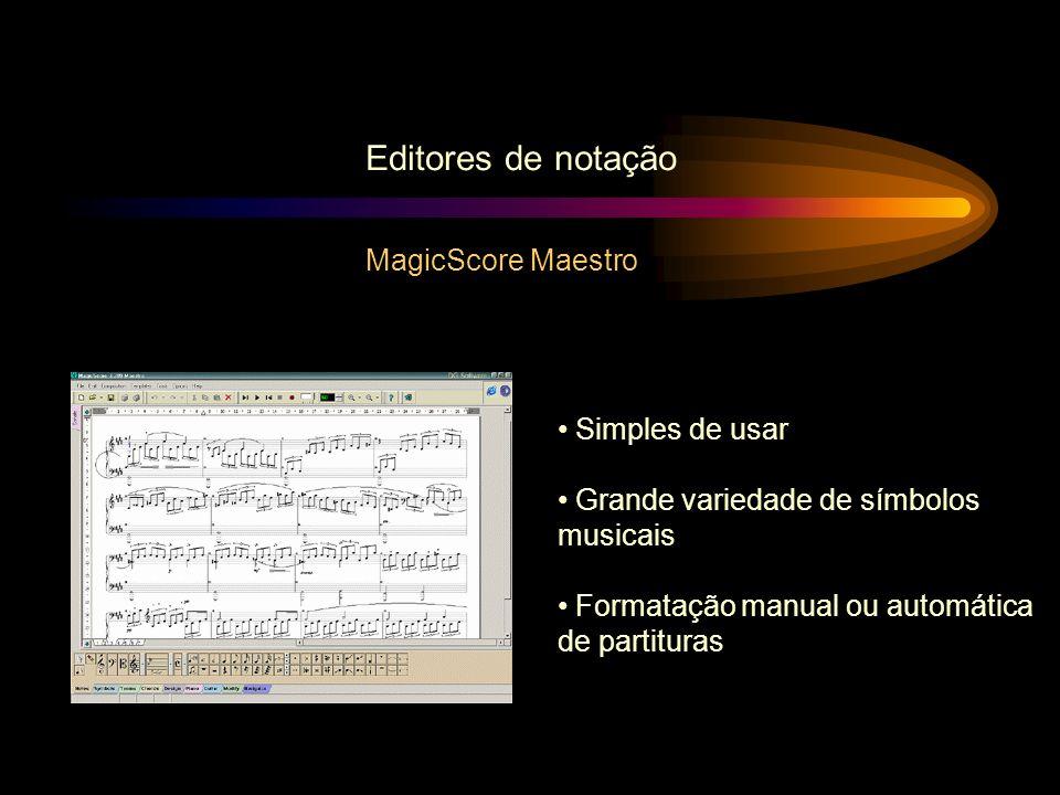 MagicScore Maestro Editores de notação Simples de usar Grande variedade de símbolos musicais Formatação manual ou automática de partituras