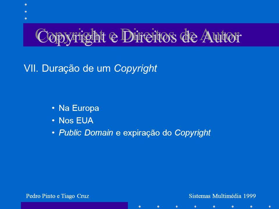 Copyright e Direitos de Autor VII.