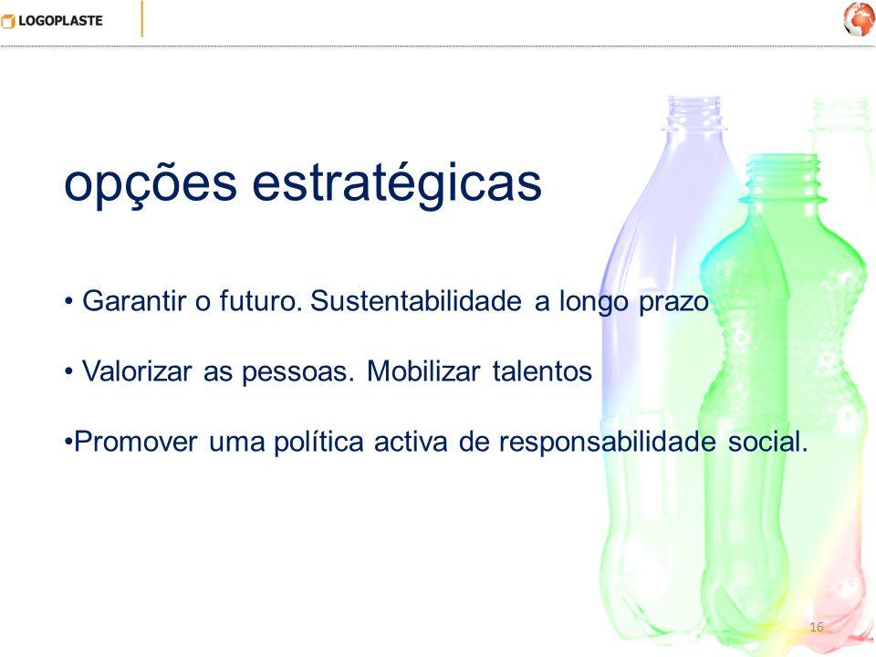 16 opções estratégicas Garantir o futuro. Sustentabilidade a longo prazo Valorizar as pessoas. Mobilizar talentos Promover uma política activa de resp