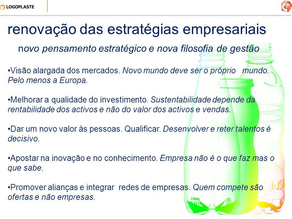 26 renovação das estratégias empresariais novo pensamento estratégico e nova filosofia de gestão Visão alargada dos mercados. Novo mundo deve ser o pr