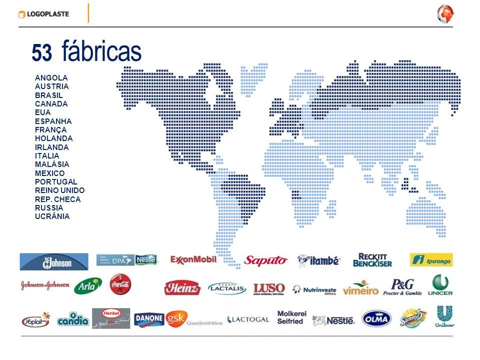 ANGOLA AUSTRIA BRASIL CANADA EUA ESPANHA FRANÇA HOLANDA IRLANDA ITALIA MALÁSIA MEXICO PORTUGAL REINO UNIDO REP. CHECA RUSSIA UCRÂNIA 53 fábricas