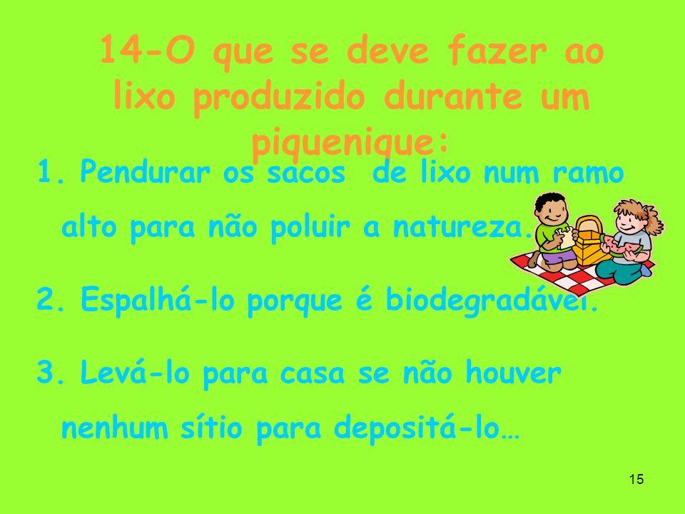 15 14-O que se deve fazer ao lixo produzido durante um piquenique: 1. Pendurar os sacos de lixo num ramo alto para não poluir a natureza. 2. Espalhá-l