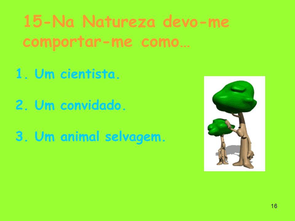 16 15-Na Natureza devo-me comportar-me como… 1. Um cientista. 2. Um convidado. 3. Um animal selvagem.