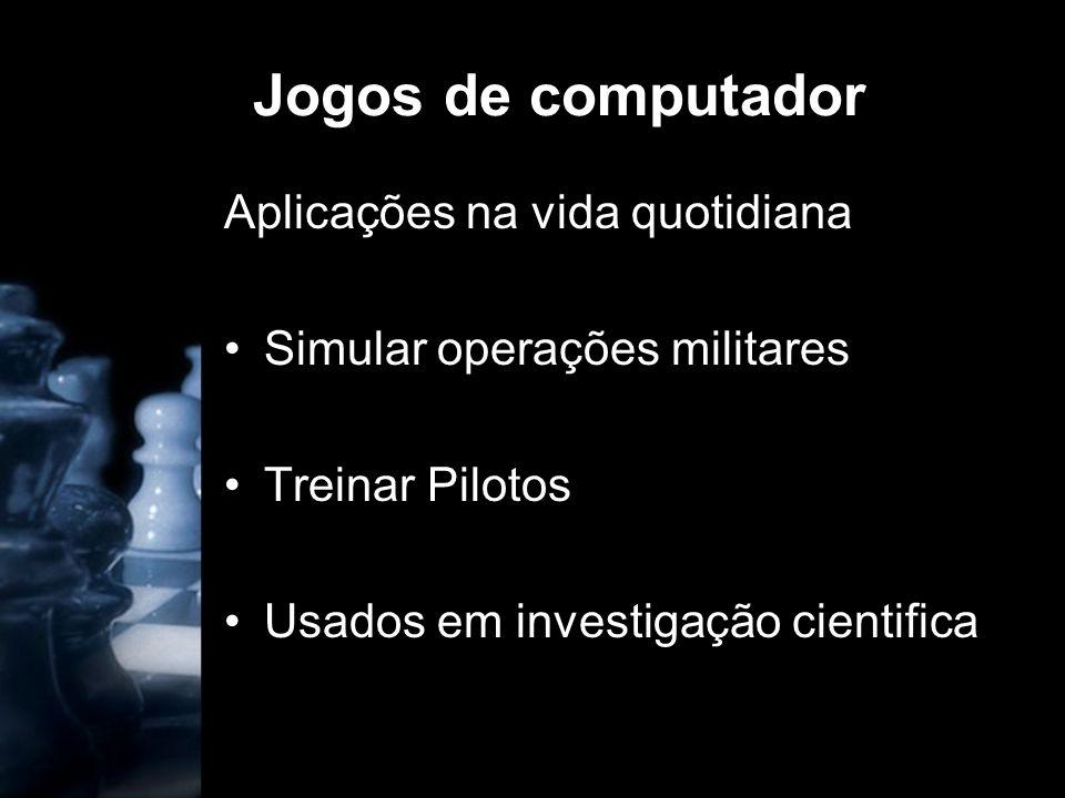 Jogos de computador Aplicações na vida quotidiana Simular operações militares Treinar Pilotos Usados em investigação cientifica