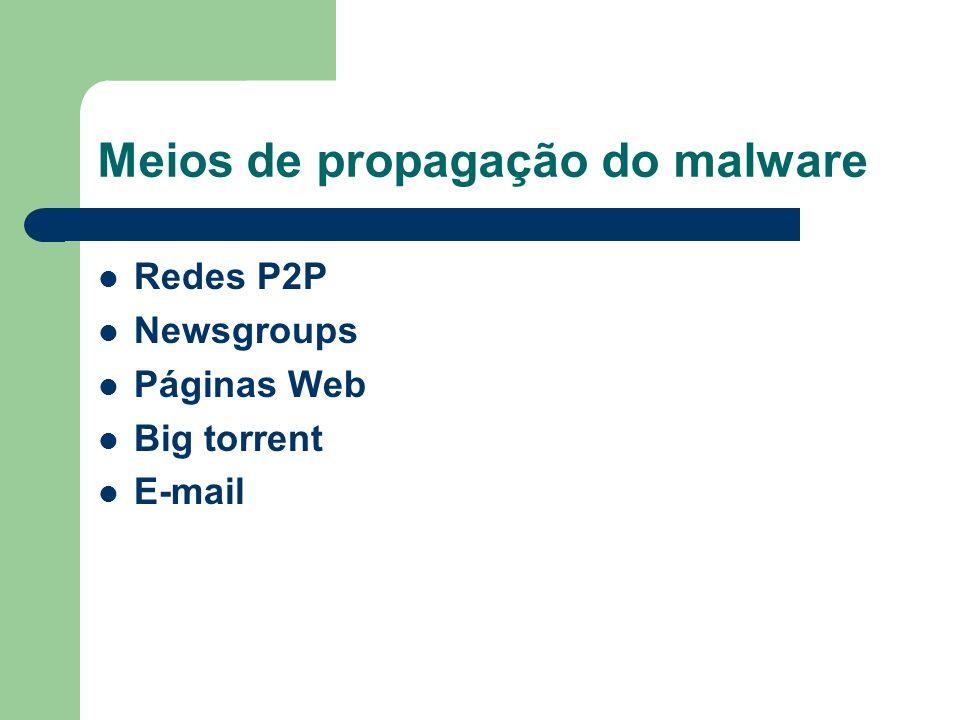 Meios de propagação do malware Redes P2P Newsgroups Páginas Web Big torrent E-mail