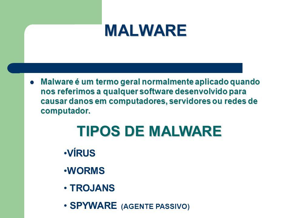 MALWARE Malware é um termo geral normalmente aplicado quando nos referimos a qualquer software desenvolvido para causar danos em computadores, servido