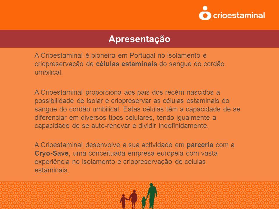 A Crioestaminal é pioneira em Portugal no isolamento e criopreservação de células estaminais do sangue do cordão umbilical.