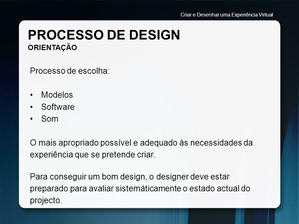 PROCESSO DE DESIGN ORIENTAÇÃO Processo de escolha: Modelos Software Som O mais apropriado possível e adequado às necessidades da experiência que se pr