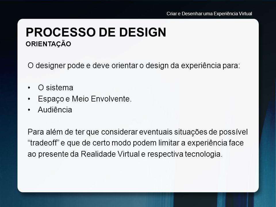 PROCESSO DE DESIGN ORIENTAÇÃO O designer pode e deve orientar o design da experiência para: O sistema Espaço e Meio Envolvente. Audiência Para além de