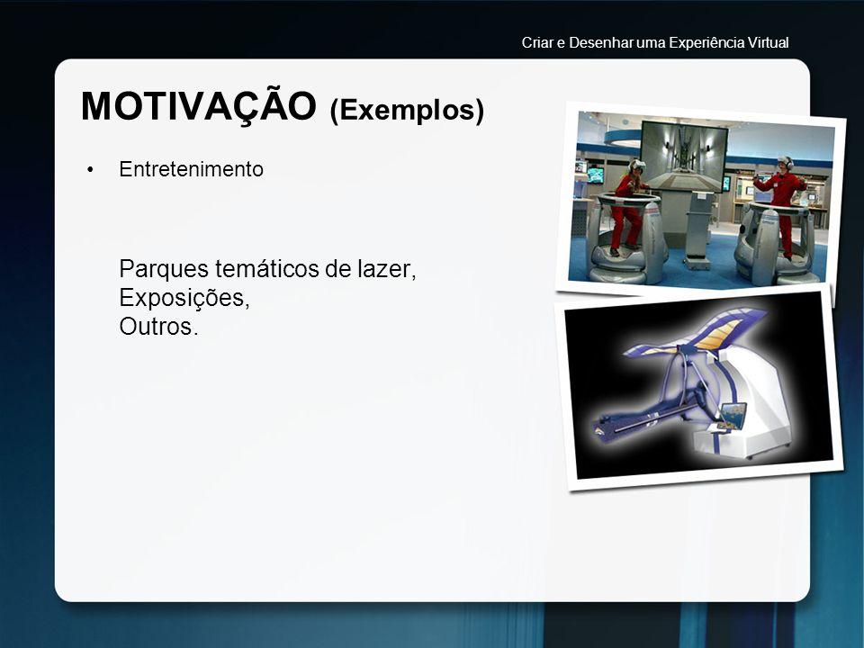 MOTIVAÇÃO (Exemplos) Segurança (Aplicada na Medicina) Possibilidade de simular intervenções cirúrgicas perante um cenário que se pretente o mais fiel possível a uma sala de operações.