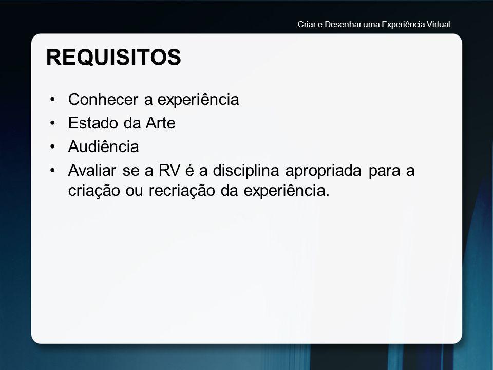 PROCESSO DE DESIGN AUDIÊNCIA Identificar qual o público-alvo da experiência RV.