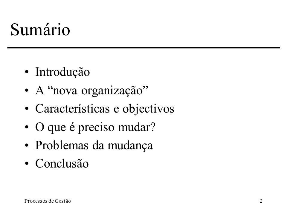 Processos de Gestão2 Sumário Introdução A nova organização Características e objectivos O que é preciso mudar.