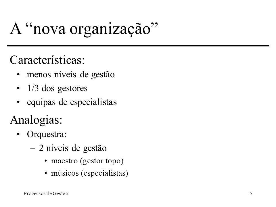 Processos de Gestão5 A nova organização Características: menos níveis de gestão 1/3 dos gestores equipas de especialistas Analogias: Orquestra: –2 níveis de gestão maestro (gestor topo) músicos (especialistas)