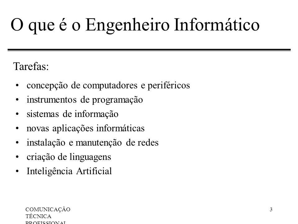 COMUNICAÇÃO TÉCNICA PROFISSIONAL, Apresentações Orais 3 O que é o Engenheiro Informático concepção de computadores e periféricos instrumentos de progr