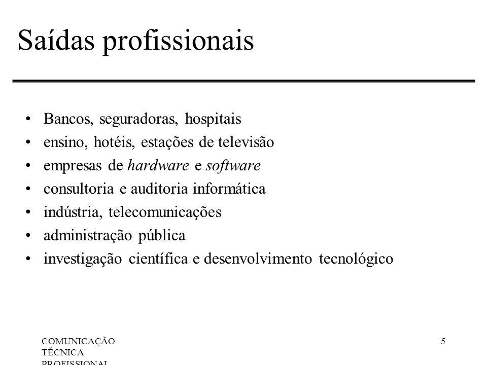 COMUNICAÇÃO TÉCNICA PROFISSIONAL, Apresentações Orais 5 Saídas profissionais Bancos, seguradoras, hospitais ensino, hotéis, estações de televisão empr