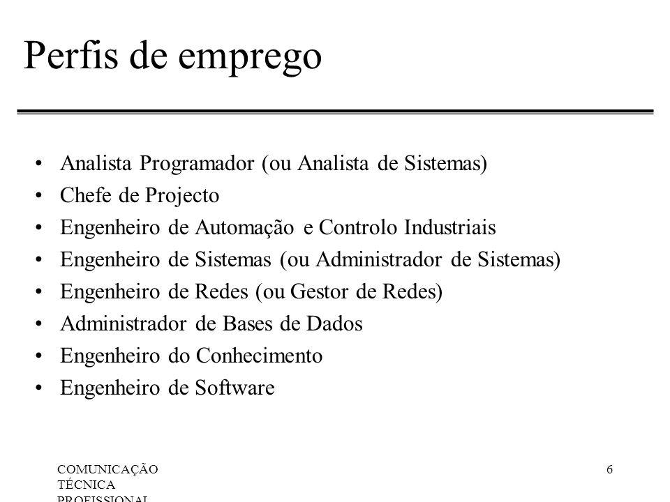 COMUNICAÇÃO TÉCNICA PROFISSIONAL, Apresentações Orais 6 Perfis de emprego Analista Programador (ou Analista de Sistemas) Chefe de Projecto Engenheiro