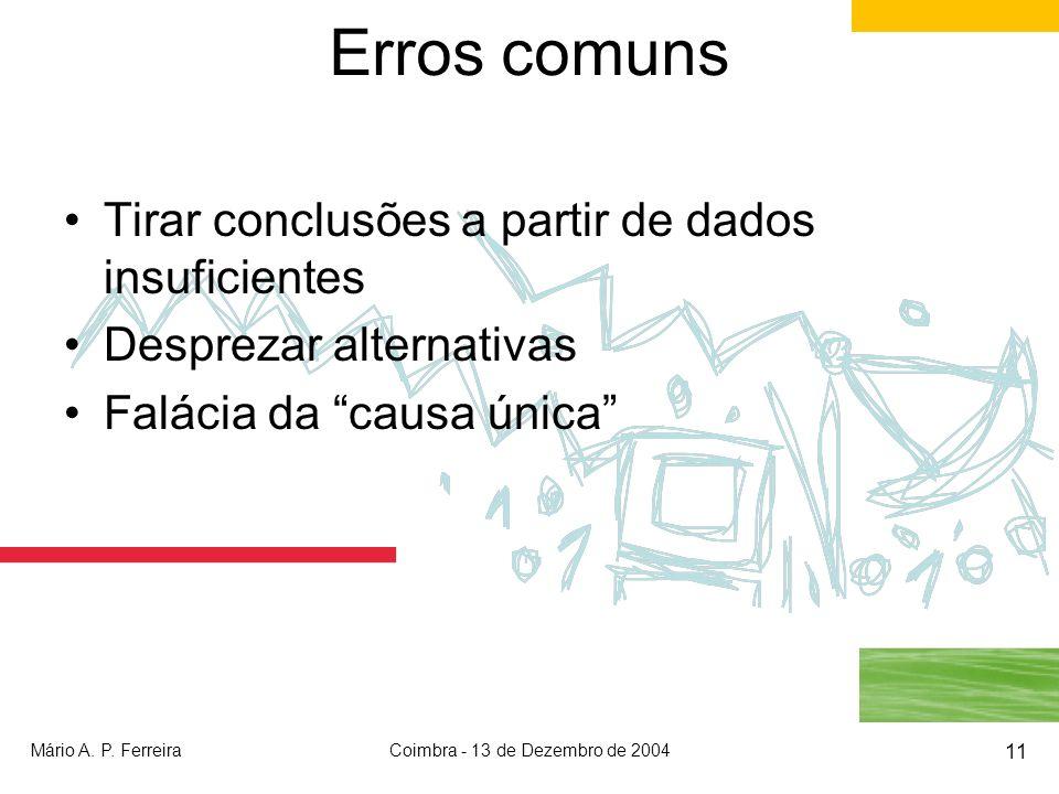 Mário A. P. FerreiraCoimbra - 13 de Dezembro de 2004 11 Erros comuns Tirar conclusões a partir de dados insuficientes Desprezar alternativas Falácia d
