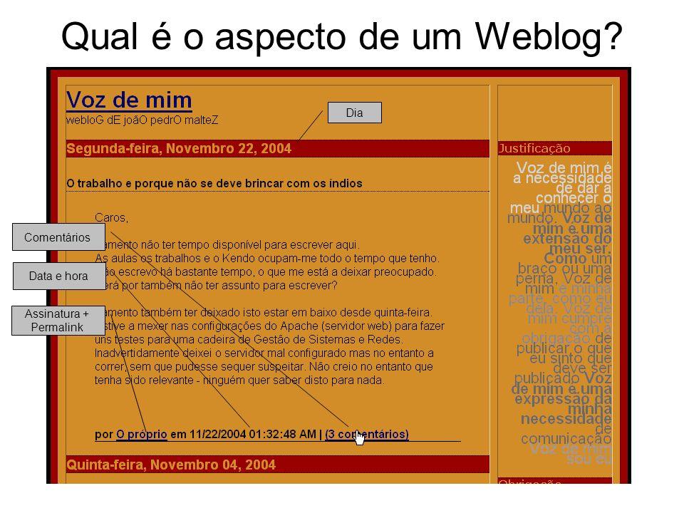 Qual é o aspecto de um Weblog Assinatura + Permalink Data e hora Comentários Dia
