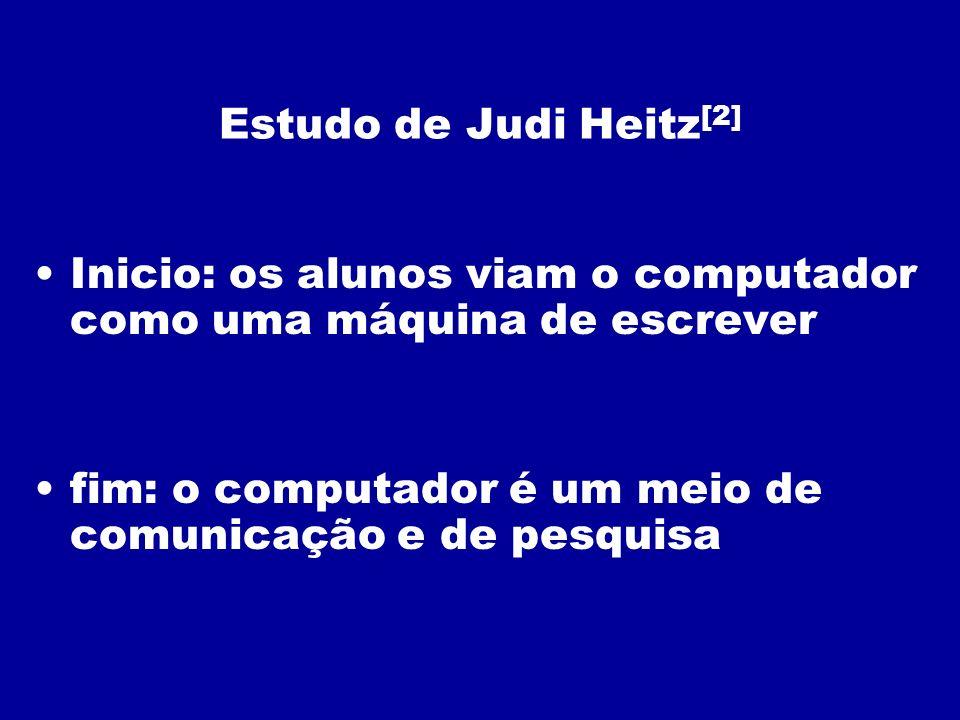 Estudo de Judi Heitz [2] Inicio: os alunos viam o computador como uma máquina de escrever fim: o computador é um meio de comunicação e de pesquisa