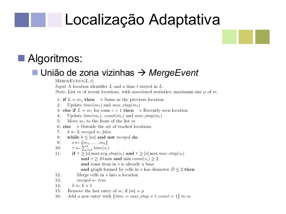 Localização Adaptativa Algoritmos: União de zona vizinhas MergeEvent