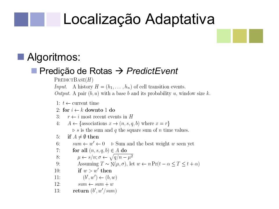Localização Adaptativa Algoritmos: Predição de Rotas PredictEvent