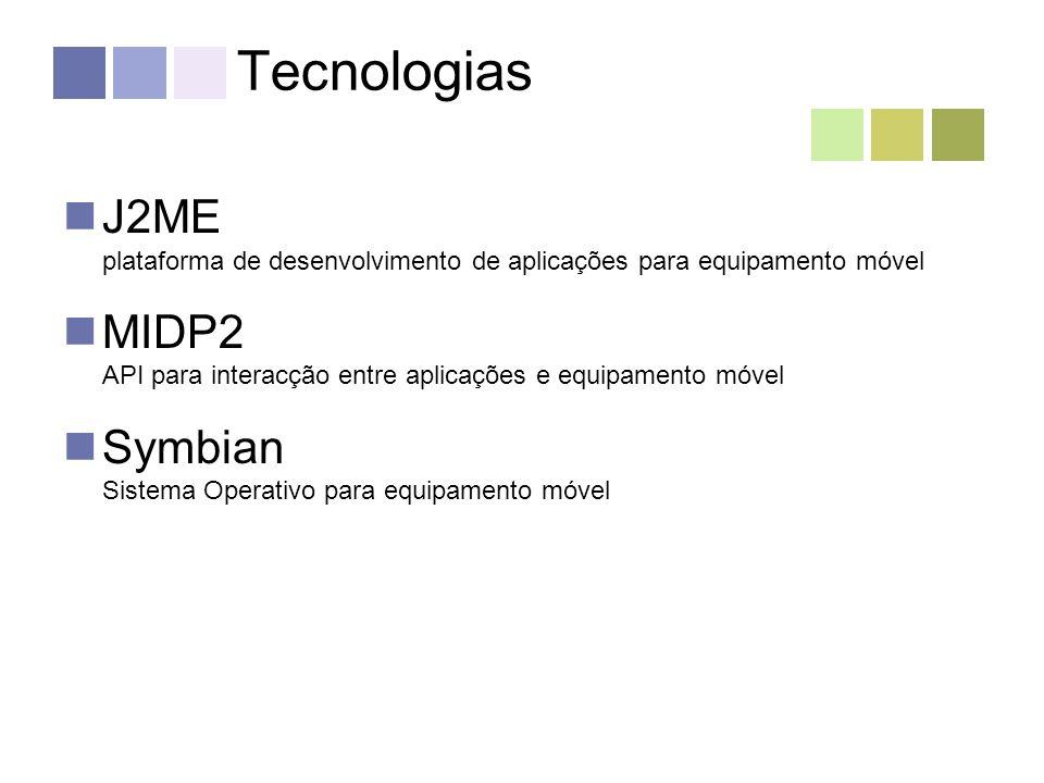Tecnologias J2ME plataforma de desenvolvimento de aplicações para equipamento móvel MIDP2 API para interacção entre aplicações e equipamento móvel Symbian Sistema Operativo para equipamento móvel