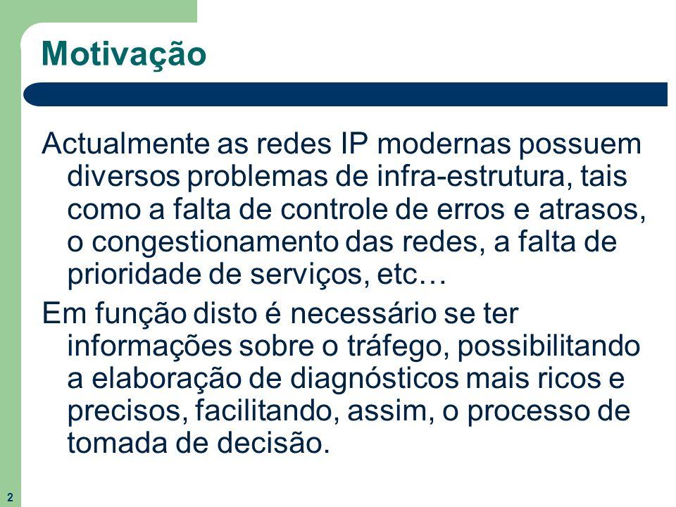 2 Motivação Actualmente as redes IP modernas possuem diversos problemas de infra-estrutura, tais como a falta de controle de erros e atrasos, o conges