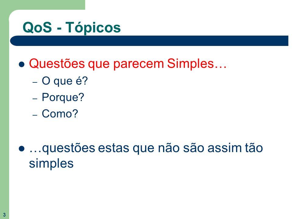 3 QoS - Tópicos Questões que parecem Simples… – O que é? – Porque? – Como? …questões estas que não são assim tão simples