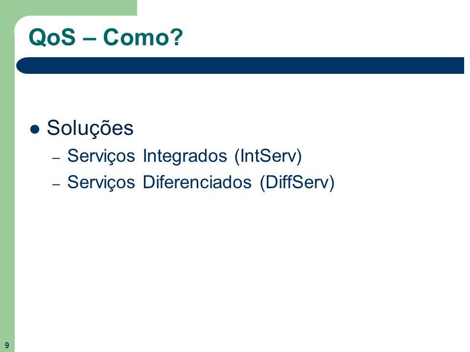 10 Resumo Este trabalho tem como função explicar o conceito de Qualidade de Serviço sobre as aplicações em IP, abordando, separadamente, os modelos IntServ e DiffServ, juntamente com os protocolos e componentes de cada um.