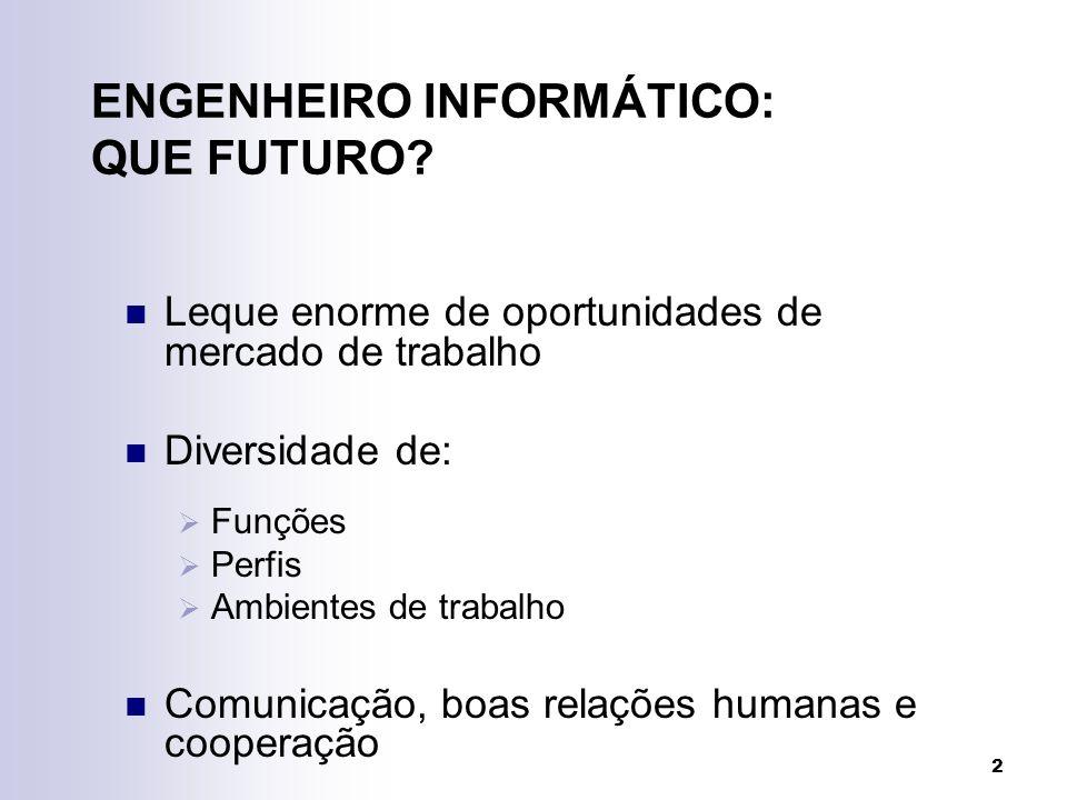 2 ENGENHEIRO INFORMÁTICO: QUE FUTURO? Leque enorme de oportunidades de mercado de trabalho Diversidade de: Funções Perfis Ambientes de trabalho Comuni