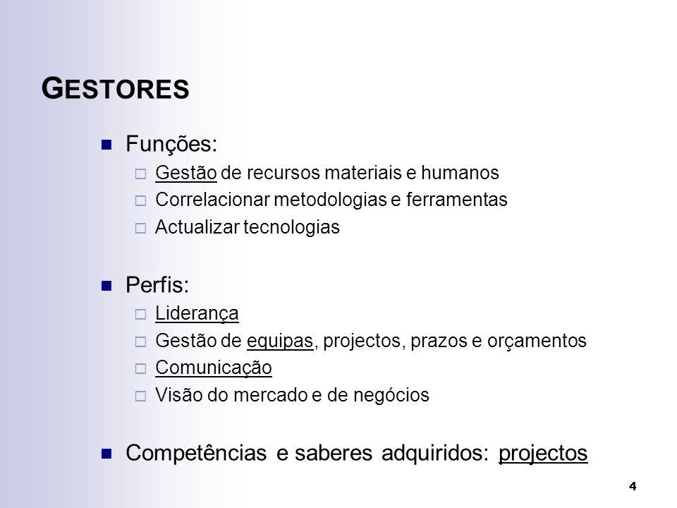 4 G ESTORES Funções: Gestão de recursos materiais e humanos Correlacionar metodologias e ferramentas Actualizar tecnologias Perfis: Liderança Gestão de equipas, projectos, prazos e orçamentos Comunicação Visão do mercado e de negócios Competências e saberes adquiridos: projectos