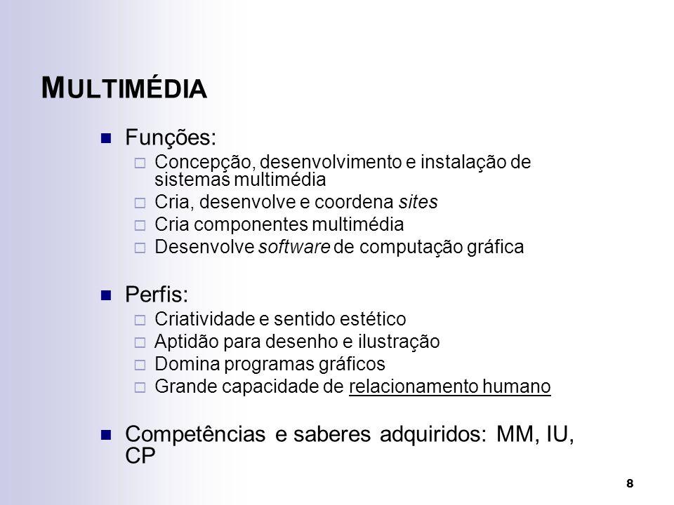 8 M ULTIMÉDIA Funções: Concepção, desenvolvimento e instalação de sistemas multimédia Cria, desenvolve e coordena sites Cria componentes multimédia De