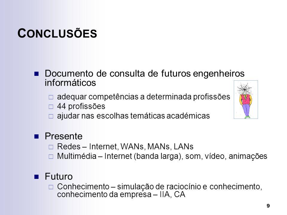 9 C ONCLUSÕES Documento de consulta de futuros engenheiros informáticos adequar competências a determinada profissões 44 profissões ajudar nas escolhas temáticas académicas Presente Redes – Internet, WANs, MANs, LANs Multimédia – Internet (banda larga), som, vídeo, animações Futuro Conhecimento – simulação de raciocínio e conhecimento, conhecimento da empresa – IIA, CA