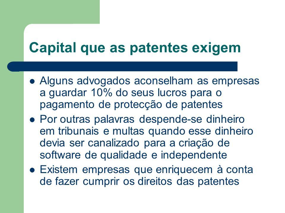 Capital que as patentes exigem Alguns advogados aconselham as empresas a guardar 10% do seus lucros para o pagamento de protecção de patentes Por outr