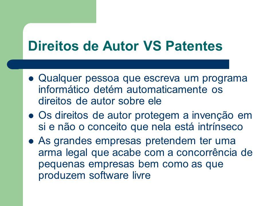 Direitos de Autor VS Patentes Qualquer pessoa que escreva um programa informático detém automaticamente os direitos de autor sobre ele Os direitos de
