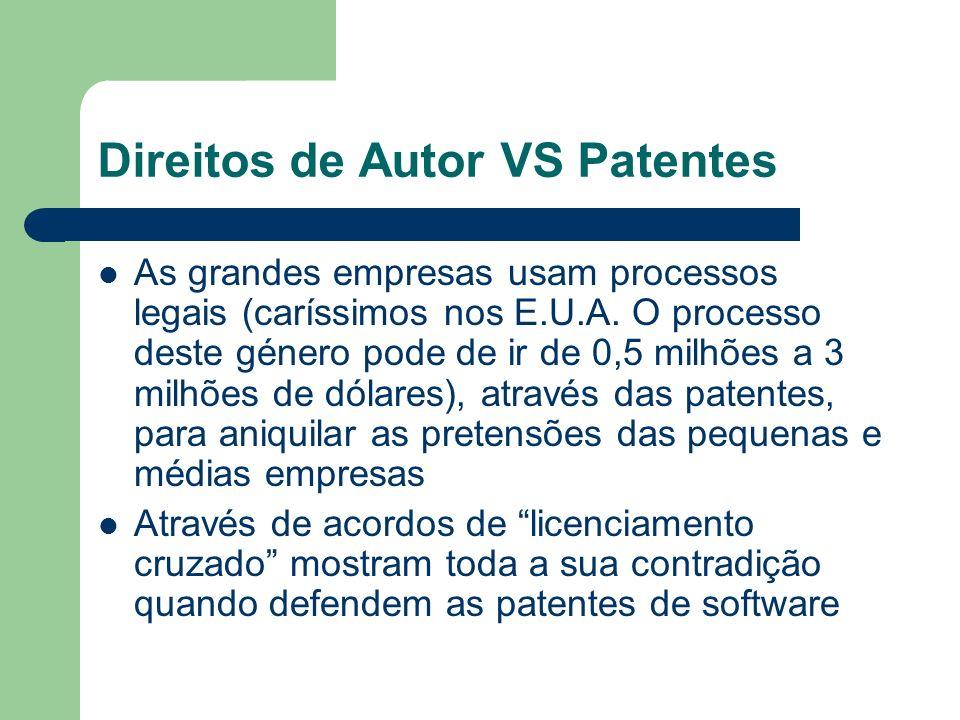 Direitos de Autor VS Patentes As grandes empresas usam processos legais (caríssimos nos E.U.A. O processo deste género pode de ir de 0,5 milhões a 3 m