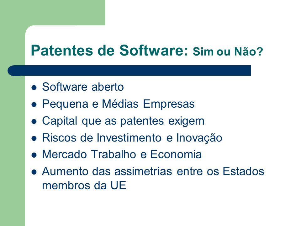 Patentes de Software: Sim ou Não? Software aberto Pequena e Médias Empresas Capital que as patentes exigem Riscos de Investimento e Inovação Mercado T