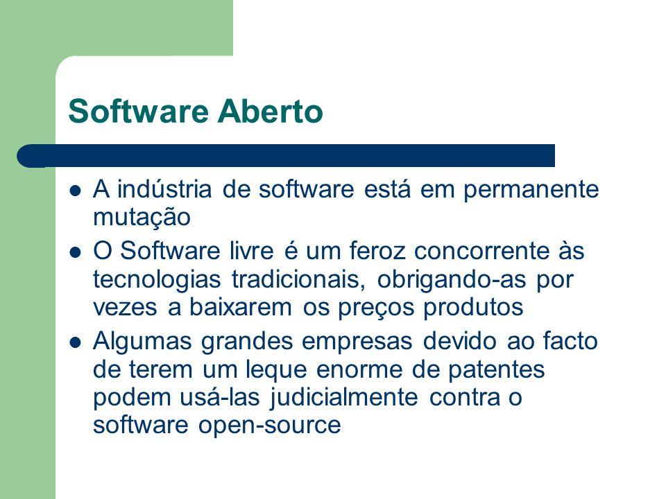 Software Aberto A indústria de software está em permanente mutação O Software livre é um feroz concorrente às tecnologias tradicionais, obrigando-as p